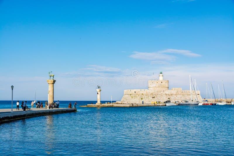 Aghios帕帕佐普洛斯圣尼古拉,罗得岛,希腊堡垒堡垒  免版税库存图片