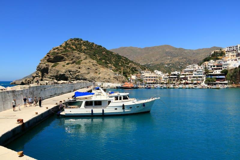 Agia Galini Beach in Crete island, Greece stock photos