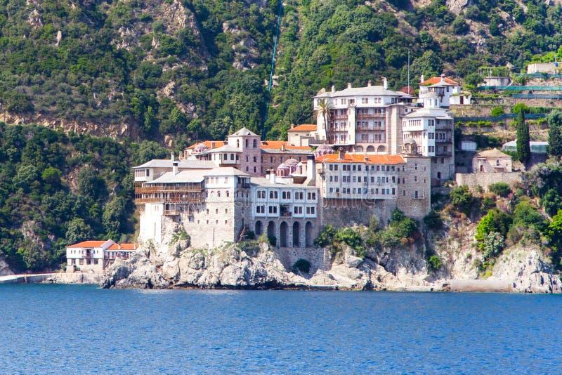 Agia Grigoriou Orthodox monastery at Mount Athos. Close up Agia Grigoriou Orthodox monastery at Mount Athos, Agion Oros, Holy Mountain, Halkidiki , Greece. View royalty free stock photos