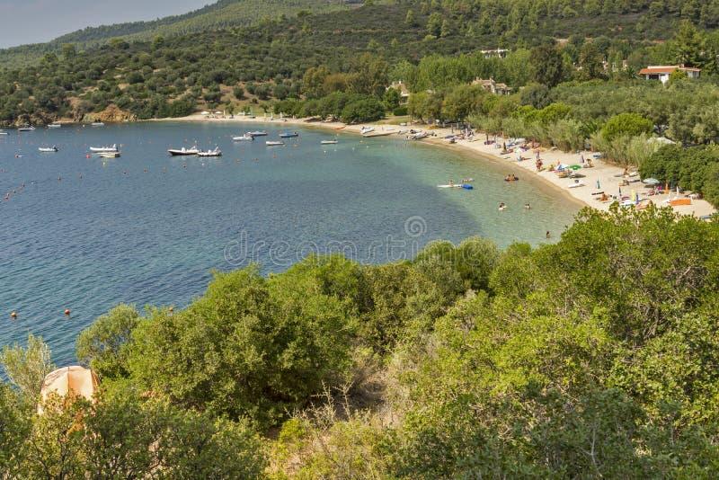 Agia Kiriaki plaża, Chalkidiki, Sithonia, Środkowy Macedonia zdjęcie stock