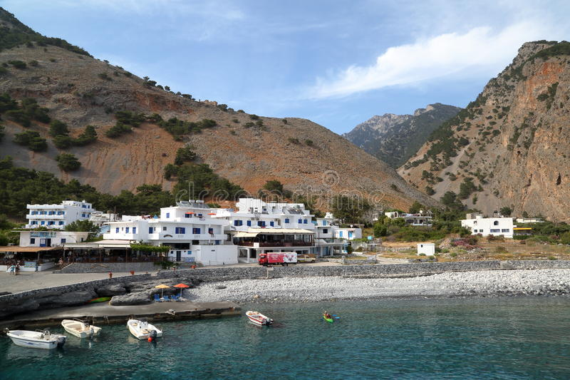 AGIA ROUMELI, CRETE - MAY 24, 2014: The entrance or exit point to the Samaria Gorge hike stock image