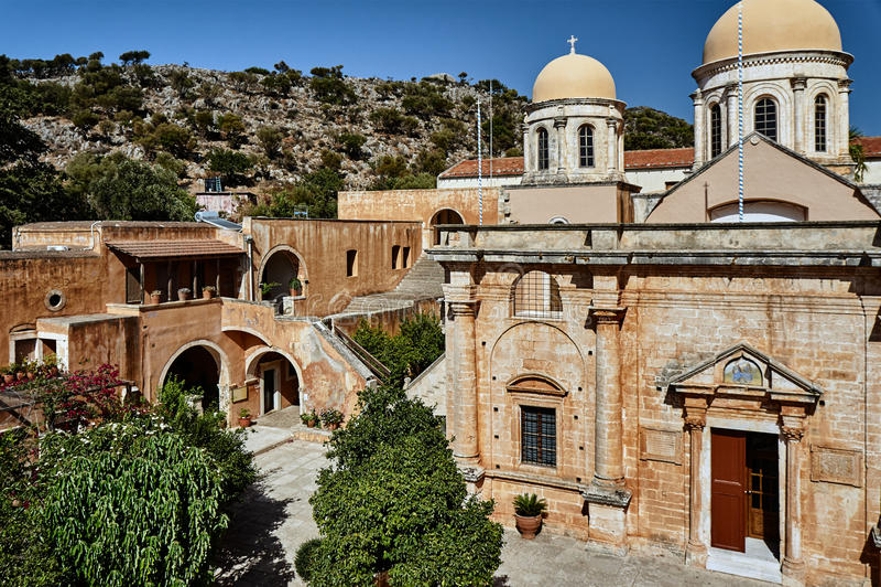 Agia Triada - klooster op het Eiland Kreta royalty-vrije stock afbeeldingen