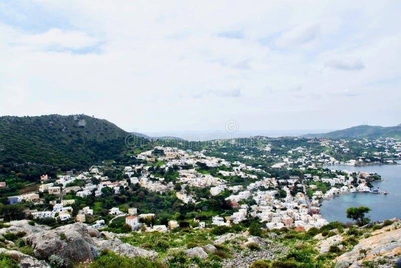 Agiajachthaven en Alinda, Leros, Dodecanese, Griekenland, Europa stock foto's
