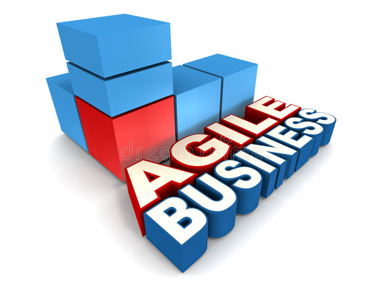 Agile business. Business agility concept, words agile business with dynamic cubes in blue and red vector illustration