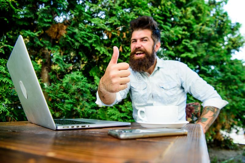 Agile business. Business success. office worker. Successful businessman. perfect deal. happy man working on laptop stock images