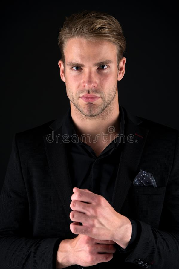 Agile business of handsome businessman. businessman start agile business. agile business concept. businessman in formal royalty free stock images