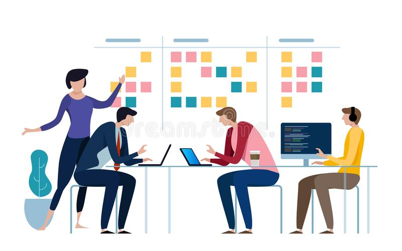 Agile business team of programmer working and make some planning on the scrum board. Whiteboard and process teamwork royalty free illustration