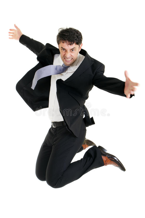 Agile businessman leaping stock photography