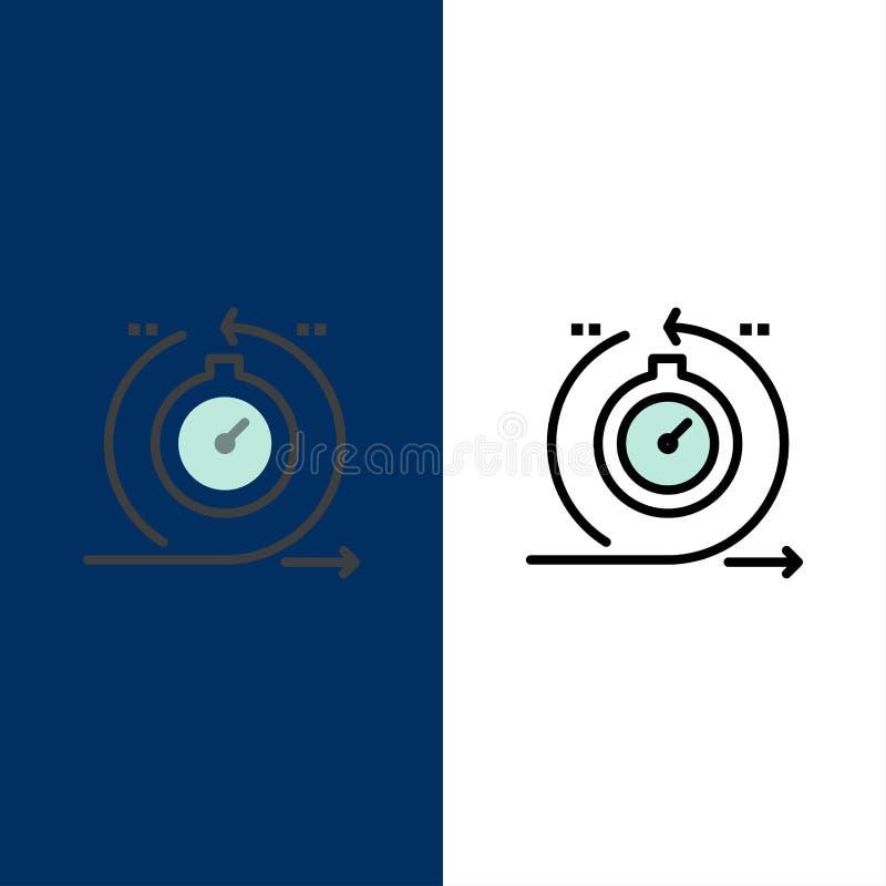 Agile, ciclo, sviluppo, veloce, icone di ripetizione Il piano e la linea icona riempita hanno messo il fondo blu di vettore illustrazione vettoriale