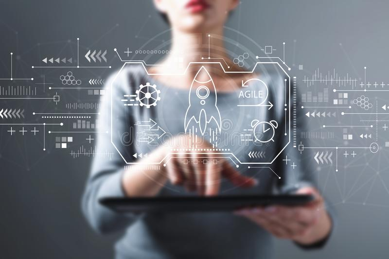 Agile concept with woman using a tablet stock photos