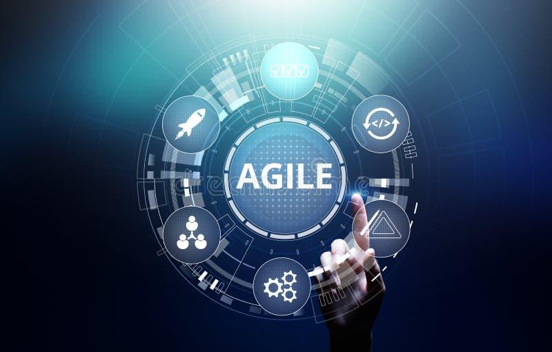 Agile development methodology concept on virtual screen. Technology concept. Agile development methodology concept on virtual screen. Technology concept royalty free stock photos