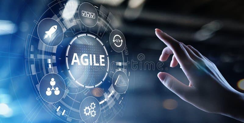 Agile development methodology concept on virtual screen. Technology concept. Agile development methodology concept on virtual screen. Technology concept stock image