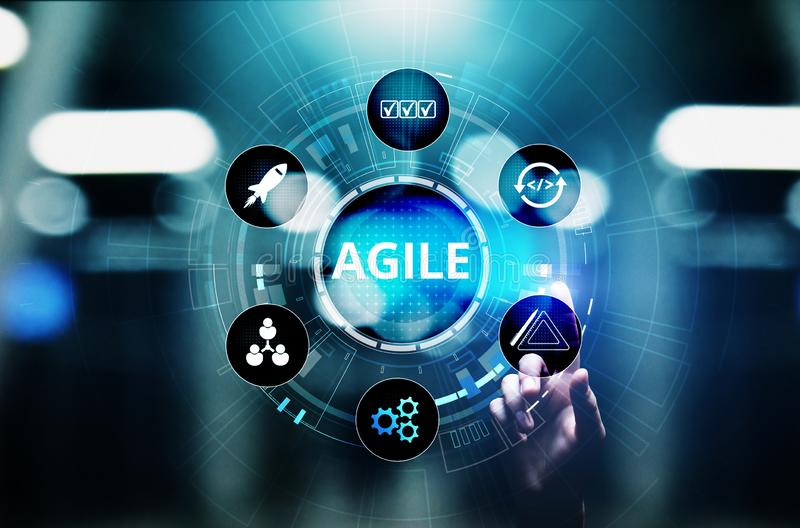 Agile development methodology concept on virtual screen. Technology concept. Agile development methodology concept on virtual screen. Technology concept royalty free stock images