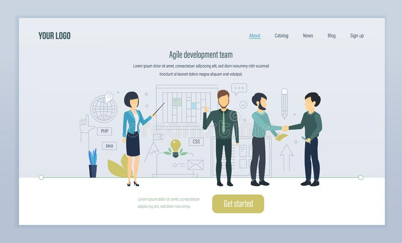 Agile development team. Teamwork, on projects. Development in high-level languages. royalty free illustration