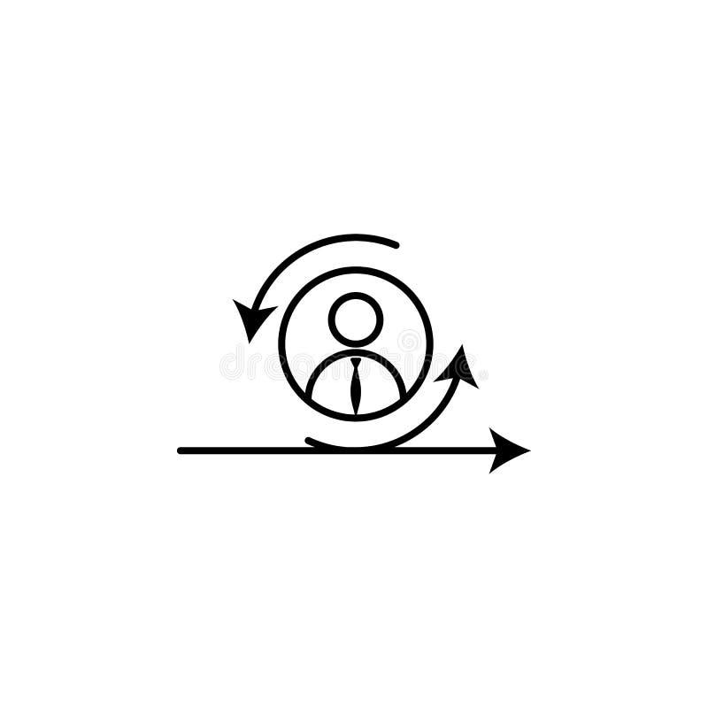 Agile, directeur, bousculade, icône de travailleur sur le fond blanc Peut être employé pour le Web, logo, l'appli mobile, UI, UX illustration libre de droits