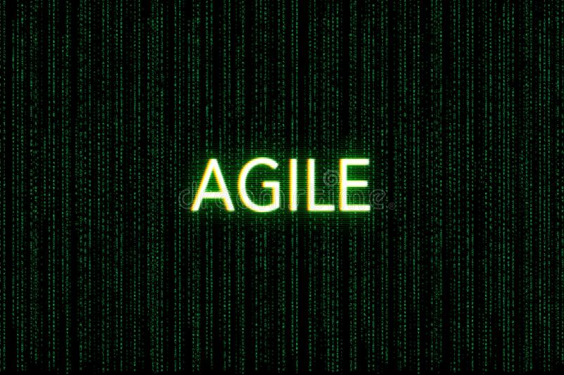 Agile, keyword of scrum, on a green matrix background. Development vector illustration