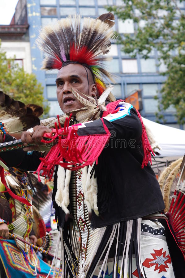 Agile Pow-wow dancer of the plains tribes of Canada royalty free stock photos
