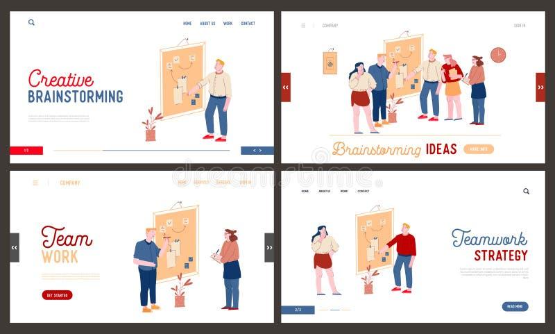 Agile Software Development, Creative Team Brainstorm Webbplats, landningssida Office Employees Stativ på Whiteboard royaltyfri illustrationer