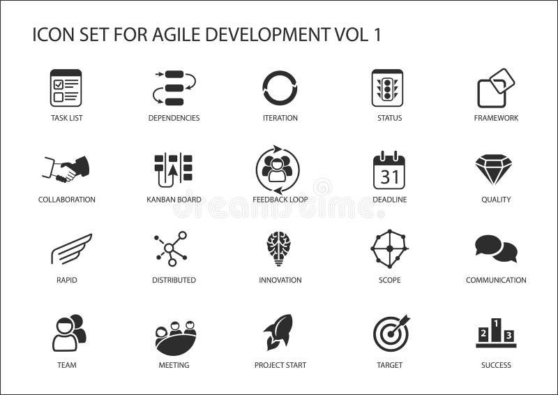 Agile software development icon set vector illustration