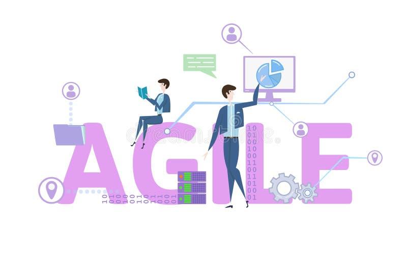 agile Table de concept avec des mots-clés, des lettres et des icônes Illustration plate colorée de vecteur sur le fond blanc illustration stock