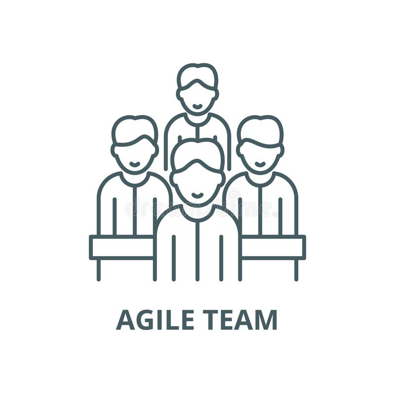 Agile team vector line icon, outline concept, linear sign vector illustration