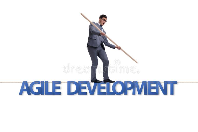 The agile transformation concept with businessman walking on tight rope stock images