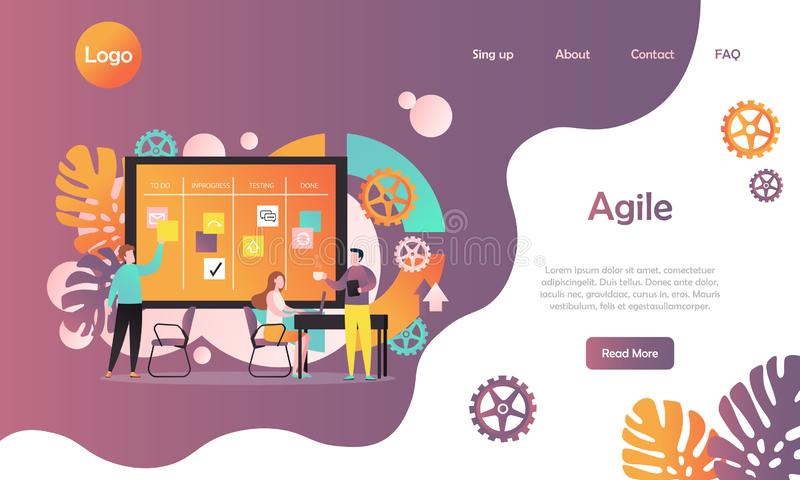 Agile vector website landing page design template royalty free illustration