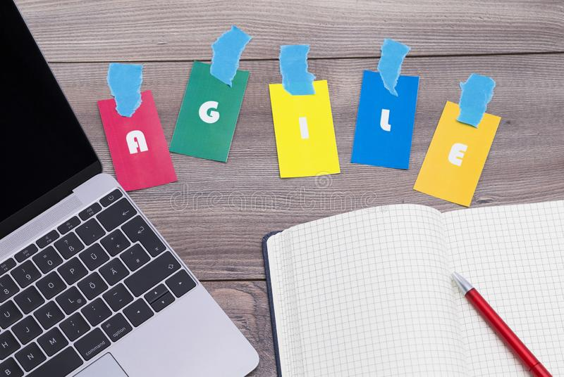 Agile working place. The photo shows a workplace, symbol image for agility working place stock photos