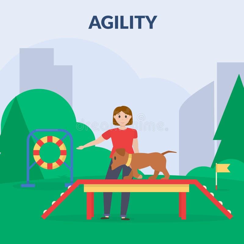 agilité Parc s'exerçant de chien avec l'équipement de sport Un chien de formation de femme Cynology Vecteur plat illustration libre de droits