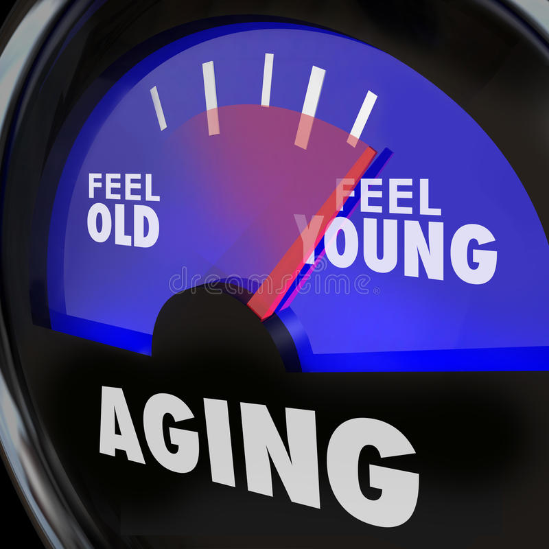 Aging Gauge Feel Old Vs Young Maintain Youth Engergy Vitality. Aging word on a gauge to illustrate difference between feeling old and young, with energy and vector illustration