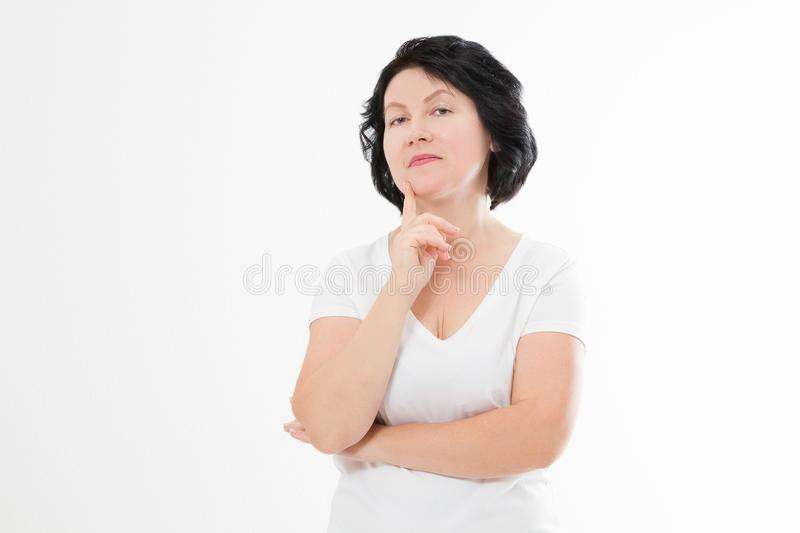 Aging middle age upset arrogant woman with wrinkles on face isolated. Stress and menopause. Copy space.  royalty free stock image