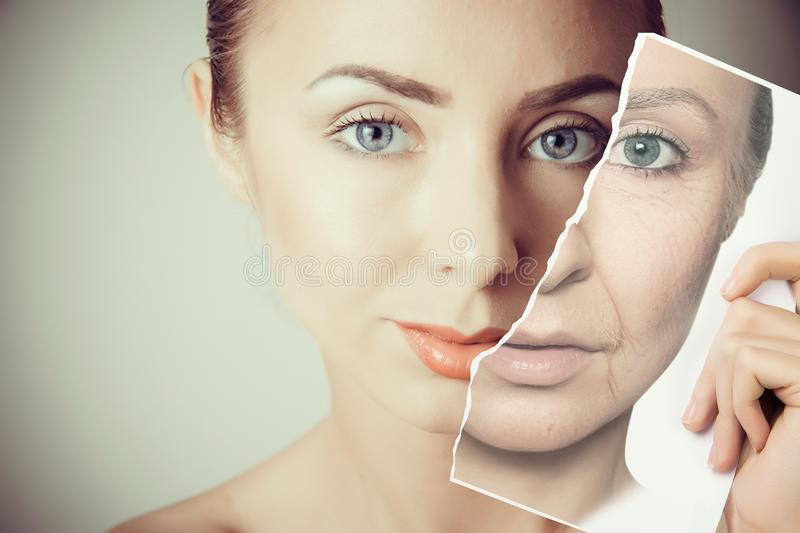 Aging problems of face skin stock photography