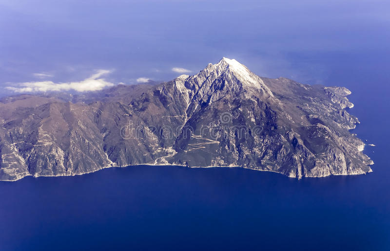 Mount Athos, Greece, aerial view. Agion Oros, Mount Athos, Chalkidiki, Greece, aerial view royalty free stock images