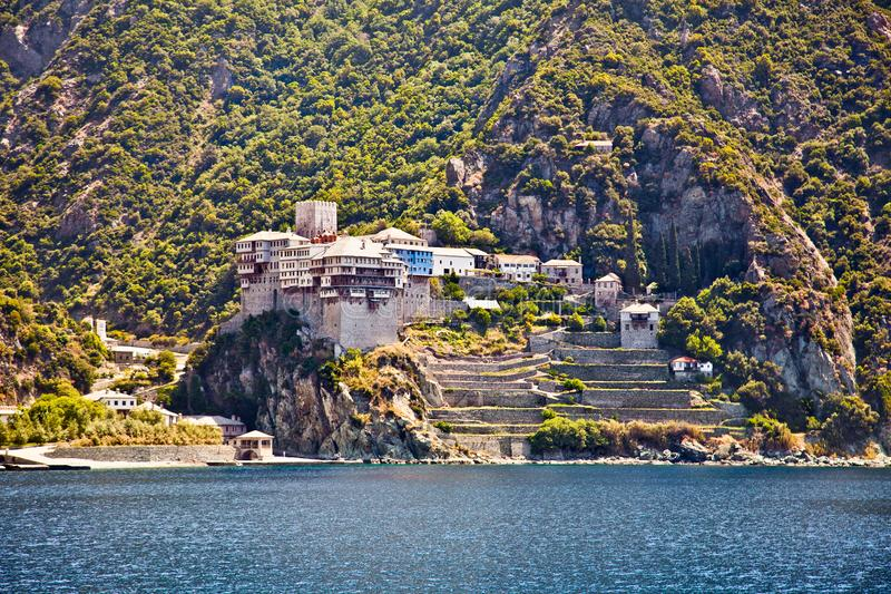 Agios Dionisiou medieval Monastery on Mount Athos. Greece. Agios Dionisiou medieval Monastery on Holy Mount Athos. Greece royalty free stock photo
