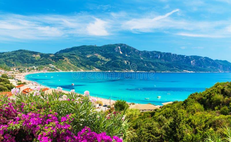 Agios Georgios Pagon-Strand auf Korfu-Insel, Griechenland stockfotos