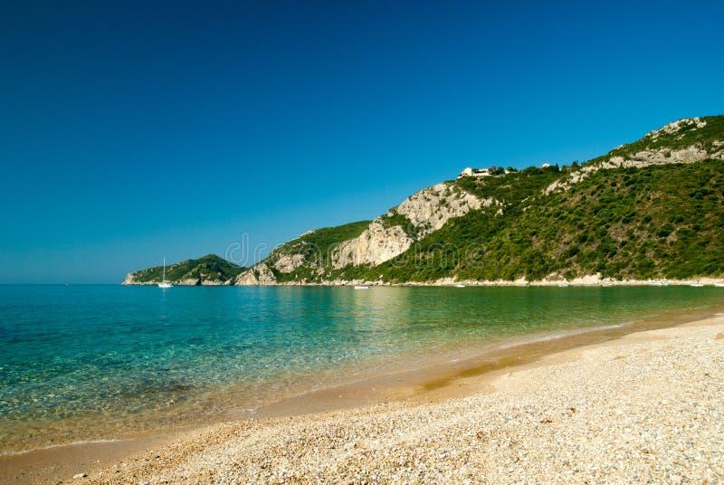 Agios Giorgios Pagon Beach, ilha de Corfu, Grécia fotos de stock royalty free