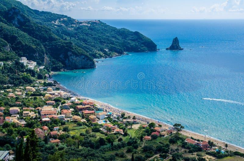 Agios Gordios View fotografia stock libera da diritti