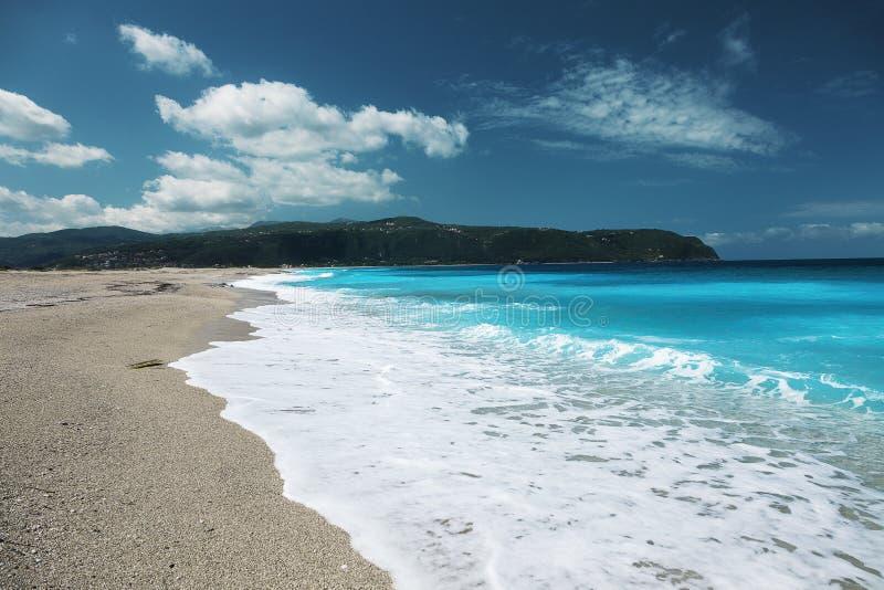 Agios Ioannis Beach, île de Leucade, Grèce image libre de droits