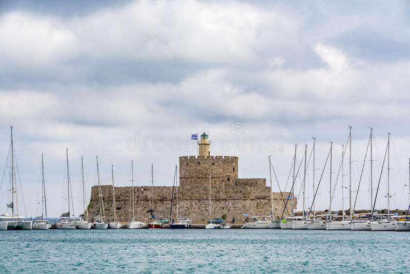 Agios Nikolaos Fortress, alte Stadt Rhodos, Griechenland stockbilder