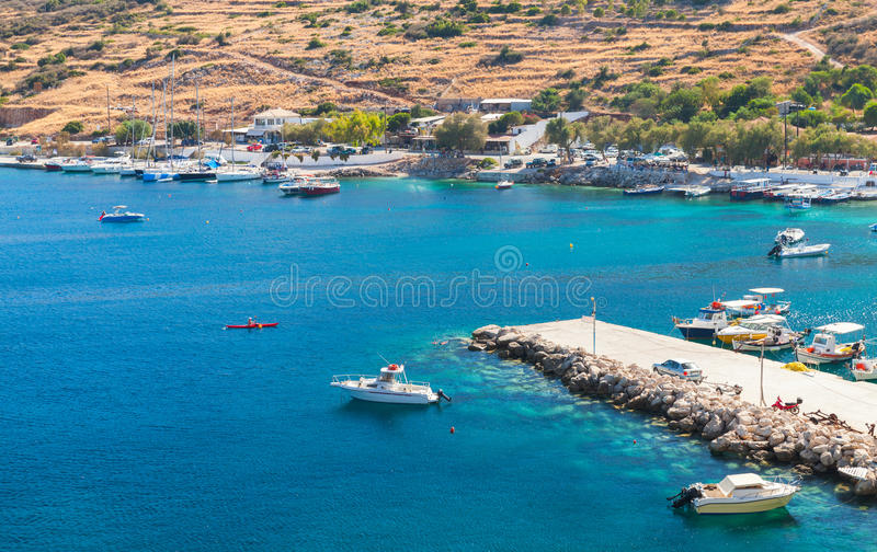 Agios Nikolaos-haven Het eiland van Zakynthos stock foto