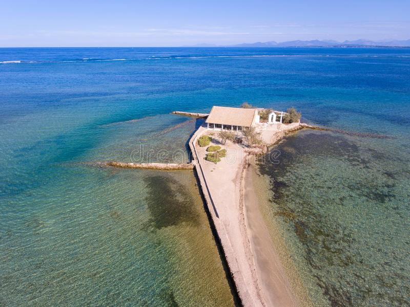 Agios Nikolaos-kerk en eilandtoeristische attractie in Lefkada G stock afbeelding