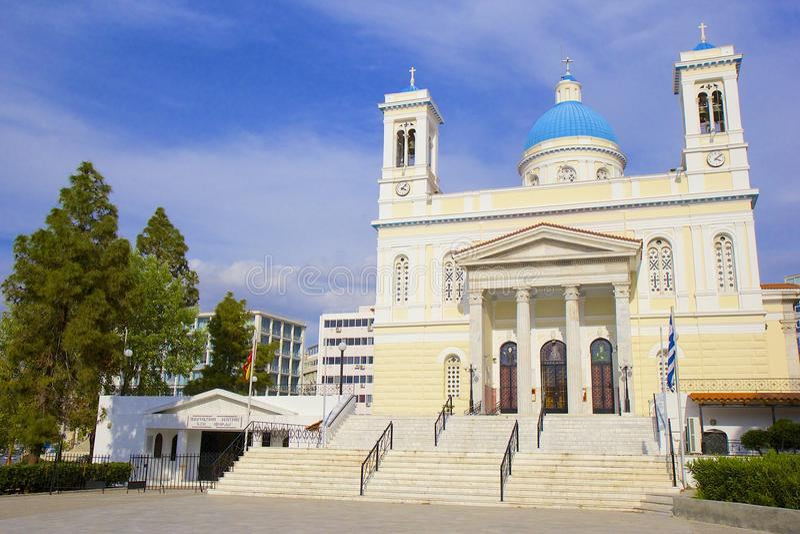 Agios Nikolaos kyrka i Piraeus, Grekland arkivfoto