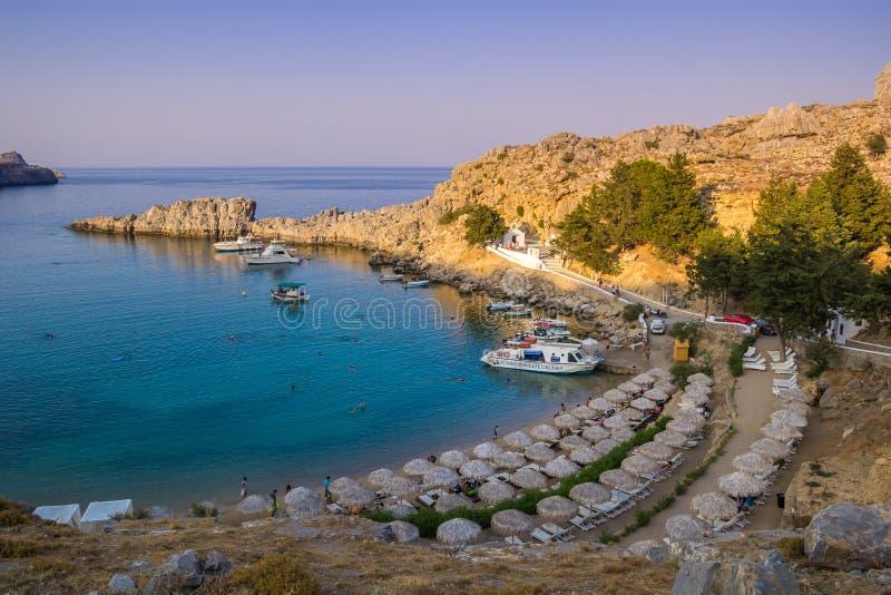 Agios Pavlos Beach in Lindos, Rhodes island, Greece. Great Beach of Agios Pavlos in Lindos, Rhodes island, Greece royalty free stock image