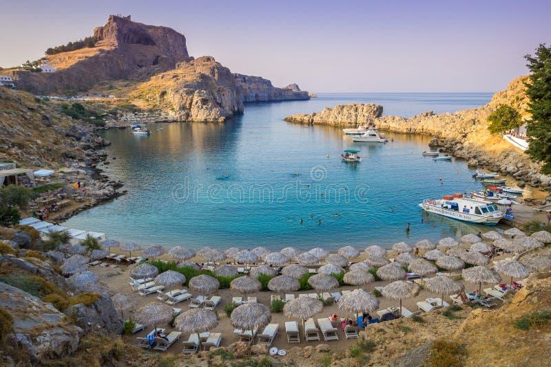 Agios Pavlos Beach in Lindos, Rhodes island, Greece. Great beach of Agios Pavlos in Lindos, Rhodes island, Greece stock photo