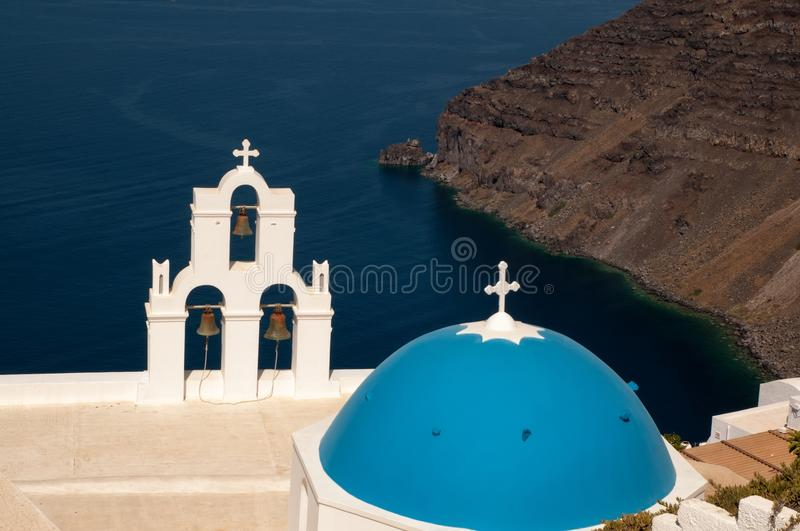 Agios Theodori Church in Fira, Santorini immagini stock