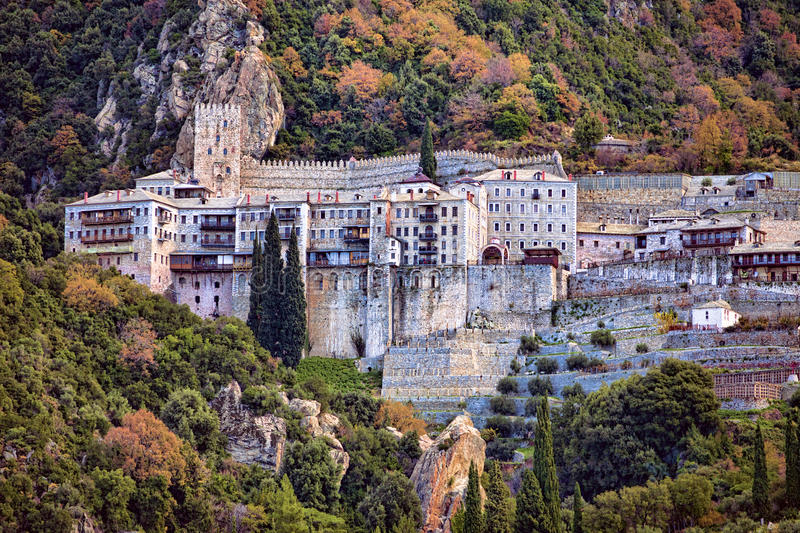 Agiou Pavlou Orthodox monastery at Mt Athos stock photo