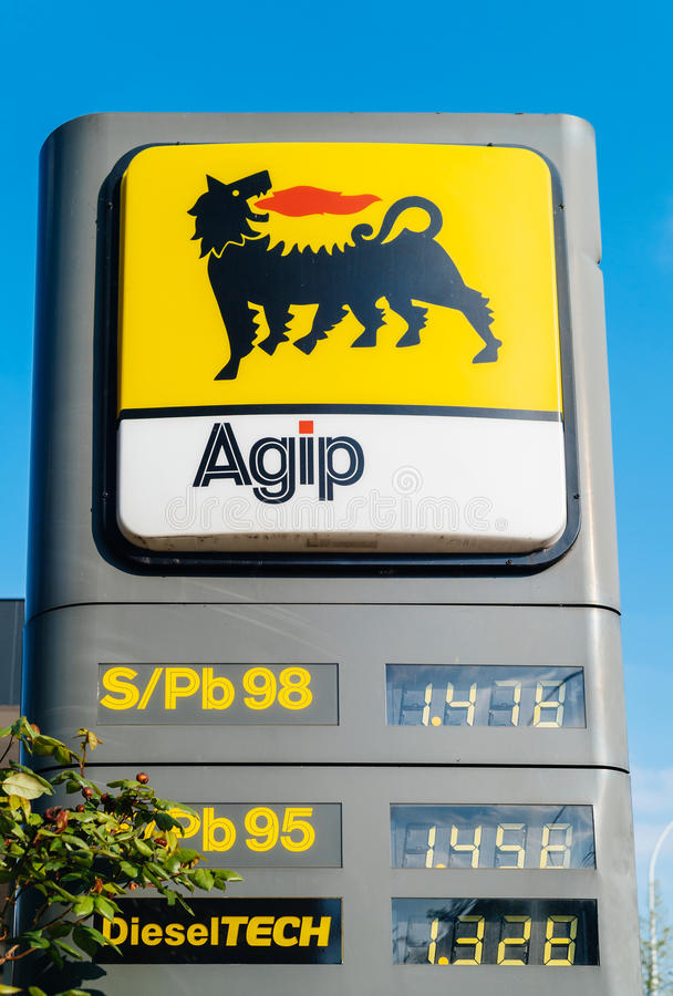 AGIP gas fuel station with prices in euro for unleaded and leaded fuel diesel royalty free stock images