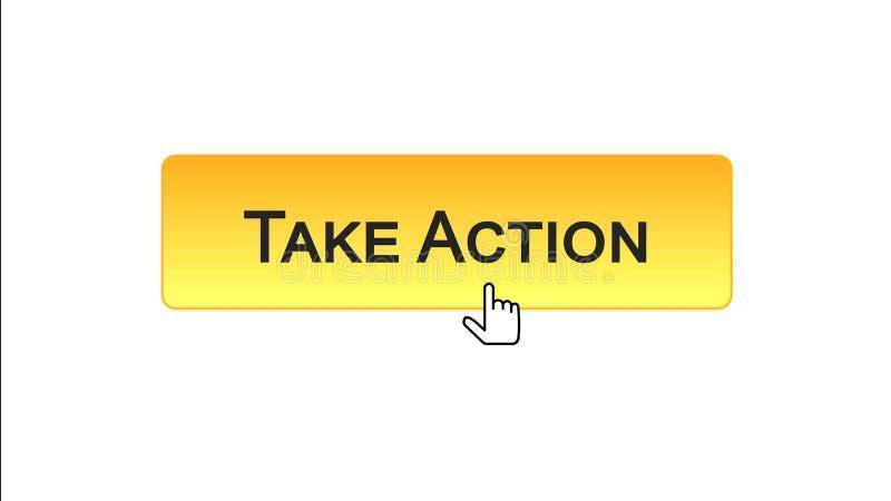Agisca il bottone dell'interfaccia di web cliccato con il cursore del topo, colore arancio, online illustrazione di stock