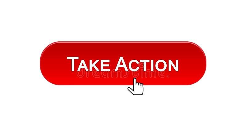 Agisca il bottone dell'interfaccia di web cliccato con il cursore del topo, colore rosso, online illustrazione di stock