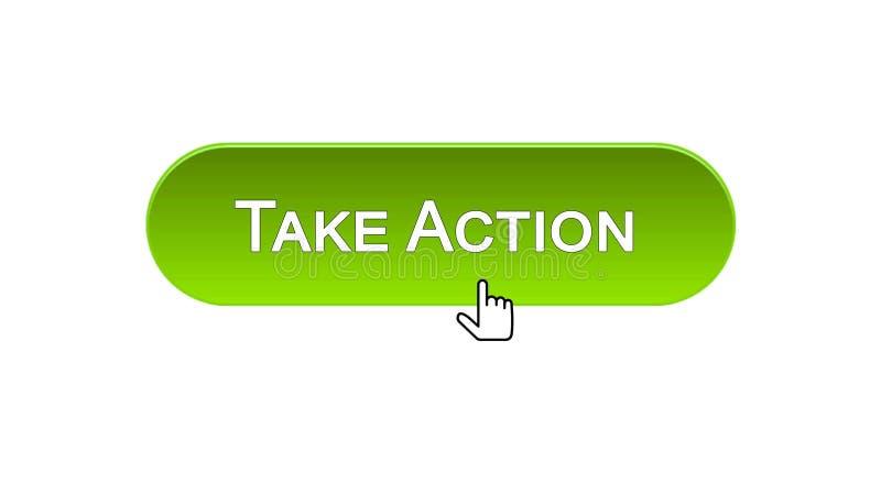 Agisca il bottone dell'interfaccia di web cliccato con il cursore del topo, colore verde, online royalty illustrazione gratis